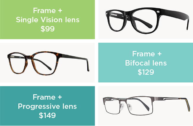 ACE Pair, Frame + Single vision lens $99, Frame + Bifocal lens $129, Frame + Progressive lens $149